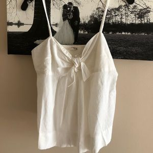 J.Crew bow front smocked back top white